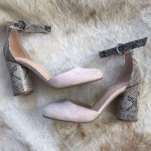 Lauren Conrad Hydrangea tan with snake print heels